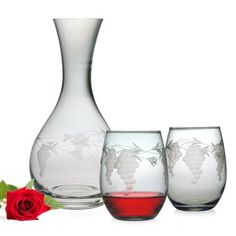 Susquehanna Glass 3Piece Sonoma Gift Set with Round Carafe and Stemless Wine Glasses -- This is an Amazon Affiliate link. See this great product.