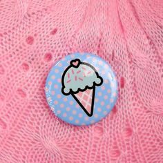 Cute Retro 80s Pinback Button Badge Pastel Ice Cream Cone Polka Dots Fairy Kei Sweet Lolita