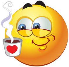 Smiley mit Kaffeetasse