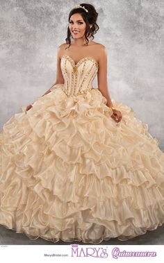 Princess style 4Q499 • Strapless iridescent satin quinceanera ball gown with beaded top that has a sweetheart neck line and lace-up back, basque waist line, ruffle skirt, and a detachable illusion scoop neck top.