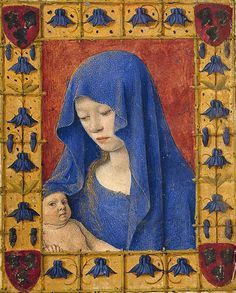 Miniature by Jean Fouquet, ca. Book of hours Simon de Varye, Mary holding the Christ-child. Madonna, Medieval Books, Medieval Art, Religious Icons, Religious Art, Jean Fouquet, Blog Art, Renaissance Kunst, Medieval Paintings