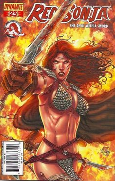 Red Sonja of Hirkania Red Sonja, Comic Movies, Comic Books, Marvel Characters, Fictional Characters, Conan The Barbarian, Pulp, Sword And Sorcery, Comic Book Covers