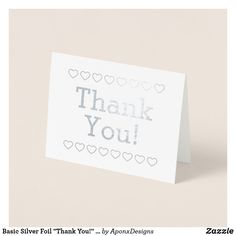 """Shop Basic Silver Foil """"Thank You!"""" + Heart Shapes Card created by AponxDesigns. Paper Envelopes, White Envelopes, Thank You Greeting Cards, Colored Paper, Your Heart, Heart Shapes, Place Card Holders, Create, Silver"""