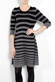 Exclusive Classic Stripe Short Cashmere Silk Dress by Madeleline Thompson