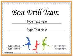 Sports Certificates   Award Template For Best Drill Team