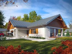 Projekt domu parterowego Arte o pow. 136,91 m2 z obszernym garażem, z dachem wielospadowym, z tarasem, sprawdź! House Makeovers, Modern Bungalow House, Modern Roofing, My House Plans, Villa Design, Architecture Plan, Simple House, Traditional House, Home Fashion
