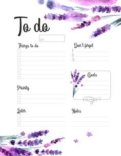 To Do Printable Planner witn Watercolor Lavender - To Do Printable Planner witn Watercolor Lavender Watercolor, floral, paint, invitation, wedding de - To Do Planner, Daily Planner Pages, Study Planner, College Planner, Daily Planners, College Tips, College Checklist, To Do Lists Printable, Weekly Planner Printable