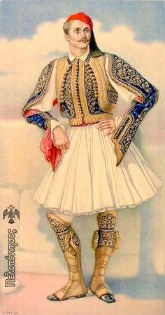 Greek Town Costume of the Peloponesus including Fustanella - Greek Costume… Greek Traditional Dress, Traditional Fashion, Traditional Outfits, Ancient Greek Costumes, Costumes Around The World, Greek History, Greek Culture, Costume Collection, Greek Art