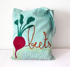 Cotton tote bag Garden Bag Beets Applique tote bag by Apseed