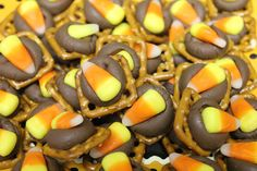 Simply Made...with Love: Fall.  Square pretzels, Hershey Kiss, and candy corn.