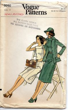 1970s Vogue 9260 Misses Princess Seam Dress Jacket womens vintage sewing pattern and by mbchills