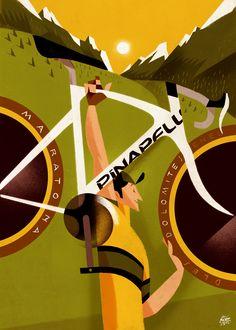 30 manifesti di Riccardo Guasco per la Maratona dles Dolomites Bicycle Painting, Bicycle Art, Bicycle Design, Bike Illustration, Graphic Illustration, Retro Bike, Bike Poster, Cycling Art, Travel Posters