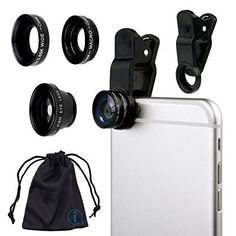 Black Clip On 180 Degrees Portable 3 in 1 Camera Lens Kit  FishEye  Wide Angle  Macro for HP Envy X2 >>> You can get more details by clicking on the image.