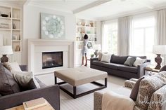 Charcoal and linen living room.