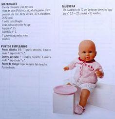 Un bonito diseño para los muñecos nenucos: Baby Born, Knitted Dolls, 18 Inch Doll, Doll Patterns, Free Pattern, Diy And Crafts, Barbie, Knitting, Toys