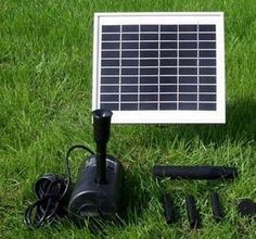 "Solar Pump and Solar Panel Kit With 56"" Head by Outdoor Classics. $103.00. 5W Solar Panel with ground spike; Pump pushes/sprays water up to 56"" high, 125 GPH; 15V DC Brushless Pump with 16' cable; 2 different fountain spray heads; Needs direct sunlight to run during day. Create your own outdoor solar fountain experience with this convenient solar pump and panel kit."