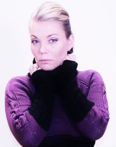 Hand knit high collar jumper pullover polo neck sweater