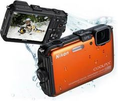 Nikon COOLPIX AW100 16 MP CMOS Waterproof Digital Camera with GPS and Full HD 1080p Video (Orange)  by Nikon  4.0 out of 5 stars  See all reviews (94 customer reviews) | Like (64)  List Price:	$349.00  Price:	  See price in cart(Why don't we show the price?)   	 This item ships for FREE with Super Saver Shipping