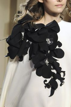 Beautiful Contrasts - sculptural floral fabric shoulder adornment; elegant fashion details // Stéphane Rolland