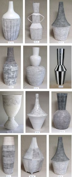 "Louise Gelderblom creates sculptural vessels handmade in Cape Town, South Africa, ""I only coil, because when I coil it feels like I am busy drawing in three dimensions. The shape of the piece and the surface markings on it create a rhythm, a percussion b Sgraffito, Ceramic Clay, Ceramic Vase, Ceramic Owl, Pottery Vase, Ceramic Pottery, Keramik Design, Coil Pots, Vase Centerpieces"