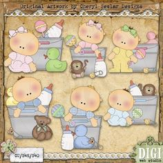 Baby Buckets 1 - Cheryl Seslar Country Clip Art