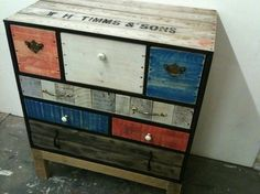 Chest of drawers made from upcycled pallet wood and discarded pumpkin crate. DIY Furniture, DIY home, interior design, interior decor, Crate Furniture, Funky Furniture, Handmade Furniture, Repurposed Furniture, Furniture Projects, Rustic Furniture, Painted Furniture, Home Furniture, Furniture Plans
