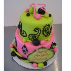 "McKenna's 13th birthday cake made for two it's a mini 5"" bottom tier with a 3"" top tier"
