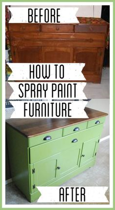 Spray Painted DIY Refinished Green Buffet is part of Spray painting DIY - Spray Painted DIY Refinished Green Buffet, How to Spray Paint Furniture, Green Buffet from Ballard Designs, Green Buffet with Wood Top, Painted Furniture Spray Paint Furniture, Diy Spray Paint, Furniture Makeover, Spray Paint Dresser, Spray Paint Table, Green Spray Paint, Painting Furniture, Furniture Projects, Furniture Making