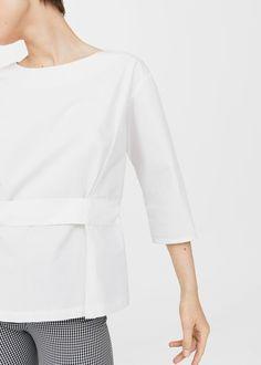 Bawełniana bluzka z wiązaniem | MANGO