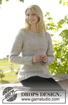 DROPS raglánový pulovr s pružnými lemy pletený shora dolů z příze Eskimo. Velikost: S-XXXL. Návod DROPS Design zdarma.