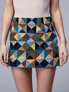 patchwork suede skirt at free people.