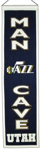 Utah Jazz Winning Streak Man Cave Banner - Banner is 8x32 and perfect for the man cave - Embroidery and applique detail on wool blend felt