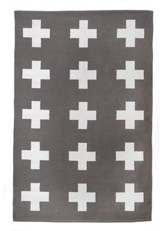 ✚ DETAILS ✚   Get your math on with this grey and white plus sign rug.   100% cotton flatweave rug Vegan Reversible Handmade Imported  ✚ NOTE ✚  Photos are of the 4x6 size. Pattern is in same scale on other sizes.