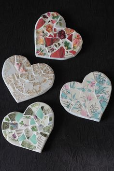 Vintage China Mosaic Hearts