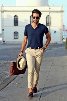 the last of summer // menswear, mens style, chinos, henley, mens fashion, hat, sunglasses, navy, t-shirt, casual style