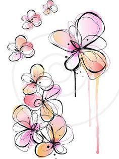 Resumen de flores de primavera, tinta de dibujo, Pintura acuarela, fondo floral, Ilustración, clip-arte digital, Imágenes Prediseñadas, vector, descargar