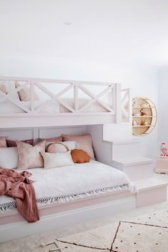 House 11 - Colour Me Hamptons Renovation Kids Room Bunk Beds Feature Walls Colours Girls Room Pink Room Transformation Bunk Bed Designs, Kids Bedroom Designs, Cute Bedroom Ideas, Room Ideas Bedroom, Bedroom Decor, Kids Bedroom Furniture, Baby Girl Bedroom Ideas, Cool Room Designs, Teen Girl Bedding