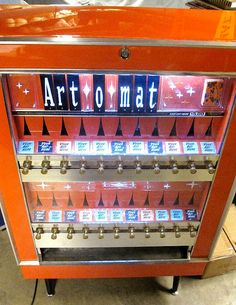 Started in 1997 by Clark Whittington of Artists in Cellophane in North Carolina, Art-o-mat machines sell small works of art from retired and converted Cigarette Vending Machine, Cigarette Box, Glazing Furniture, Painted Furniture, Art O Mat, Arduino, Recycling Containers, Glazing Techniques, Vintage Soul