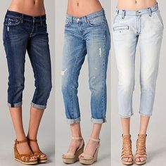 I like these jeans. They would probably fit like full length jeans on me, which is fine. Not crazy about the color of the lightest one.
