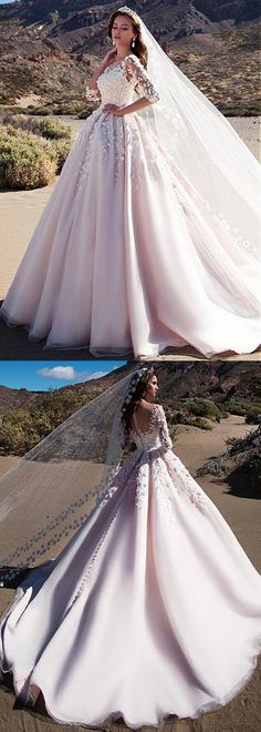 Attractive Tulle Bateau Neckline A-line Wedding Dress With 3D Flowers & Lace Appliques & Beadings Needle And Thread Wedding Dresses, Wedding Dresses With Flowers, Tulle Wedding, Wedding Gowns, Dream Wedding Dresses, Bridal Dresses, Wedding Jumpsuit, Women's Fashion, Wedding Styles