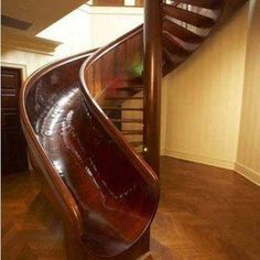 Spiral Staircase Slide, Indianapolis, Indiana - Happiness in a stair-slide :) Green Design, Stair Slide, Stairs With Slide, Cool Inventions, Future Inventions, Japanese Inventions, Cool Stuff, Dream Rooms, Cool Rooms