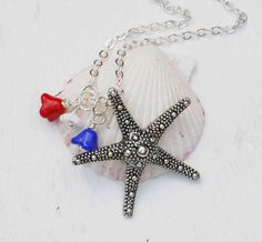 STARFISH Necklace Nautical Jewelry Sea Marine Summer Bon Voyage Cruise Sailing Travel Red White Blue 4th of July
