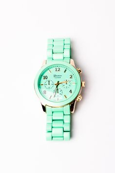 Mint and gold watch