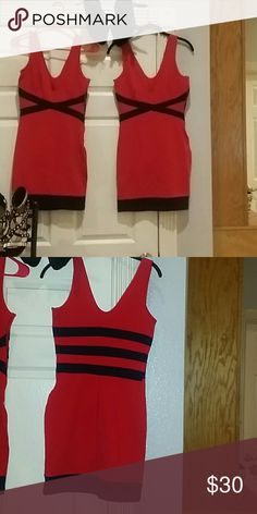 New Item - Red & Black Body Con Dress I have a small and a medium. Both will stretch up to a Medium and Large. If you're familiar with bandage/bodycon you know that's what they're famous for.1 for $29 or 2/$50 W by Wenjif Dresses Mini