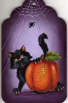 Cat, Pumpkin and Spider, Painting Pattern Packet, Dawksart.Etsy. $6.50, via Etsy.