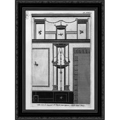 Decorated in several existing cams in their country house in Pompeii Large Black Wood Framed Print Art by Giovanni Battista Piranesi