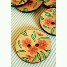 Painted wooden buttons from eternal maker