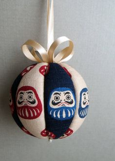 Japanese Daruma Kimekomi Ornament by OrnamentDesigns on Etsy, $10.00