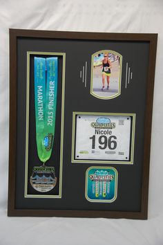 quad cities marathon shadow box w number and race medal we also