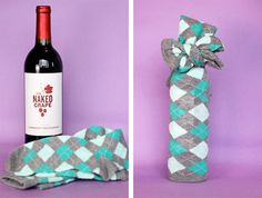 Wrapping a wine bottle with socks